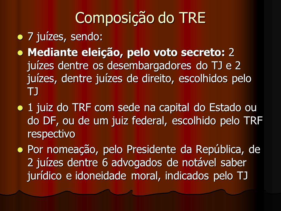Composição do TRE 7 juízes, sendo: 7 juízes, sendo: Mediante eleição, pelo voto secreto: 2 juízes dentre os desembargadores do TJ e 2 juízes, dentre j