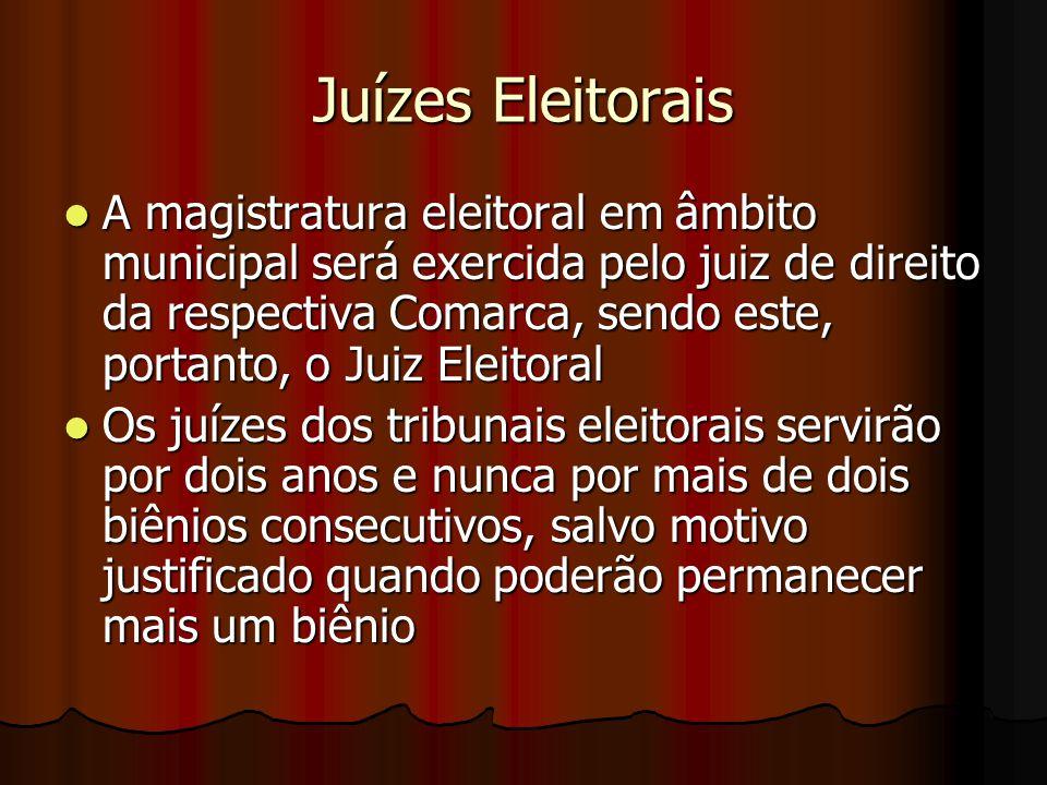 Juízes Eleitorais A magistratura eleitoral em âmbito municipal será exercida pelo juiz de direito da respectiva Comarca, sendo este, portanto, o Juiz