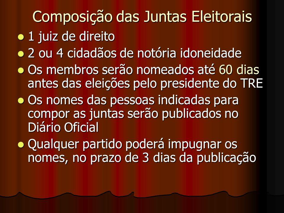 Composição das Juntas Eleitorais 1 juiz de direito 1 juiz de direito 2 ou 4 cidadãos de notória idoneidade 2 ou 4 cidadãos de notória idoneidade Os me