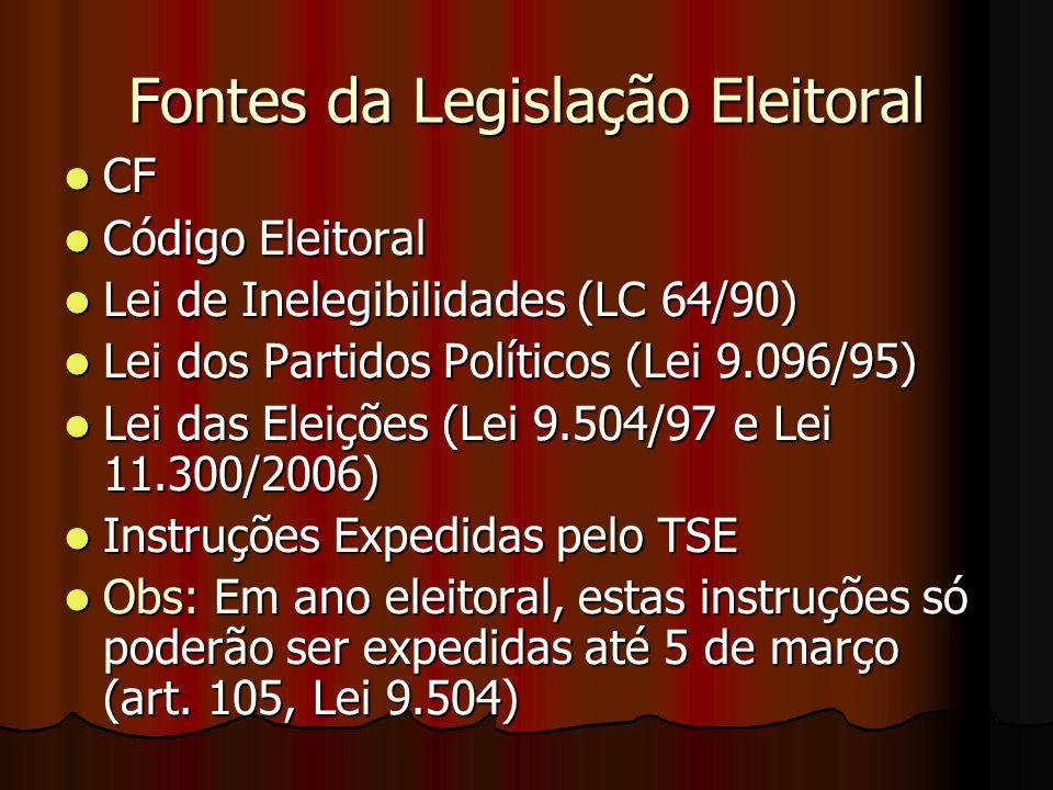Fontes da Legislação Eleitoral CF CF Código Eleitoral Código Eleitoral Lei de Inelegibilidades (LC 64/90) Lei de Inelegibilidades (LC 64/90) Lei dos P