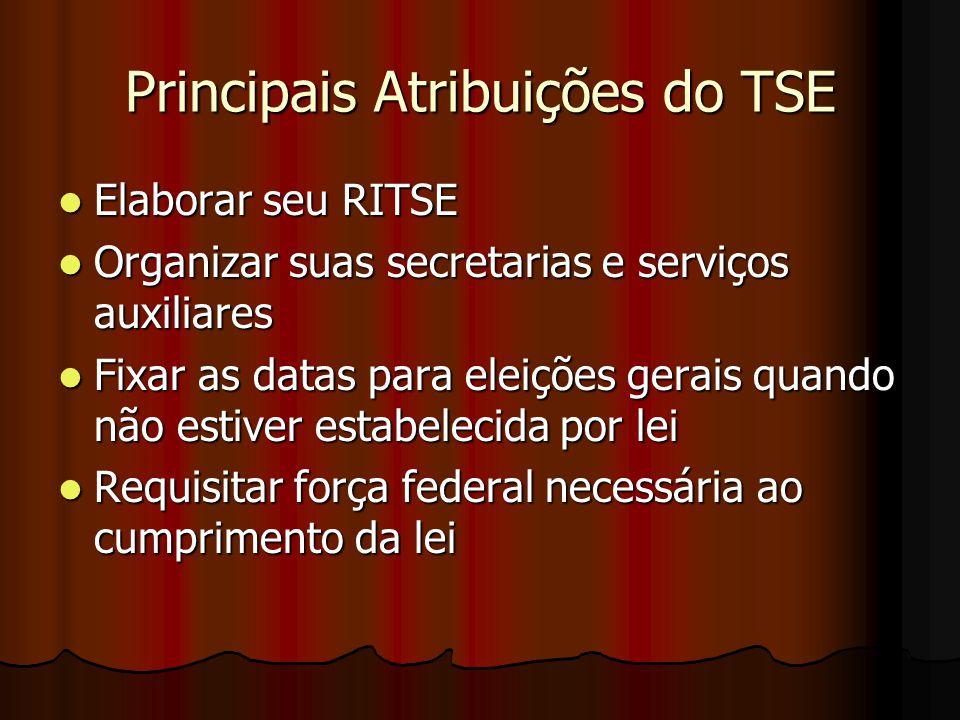 Principais Atribuições do TSE Elaborar seu RITSE Elaborar seu RITSE Organizar suas secretarias e serviços auxiliares Organizar suas secretarias e serv