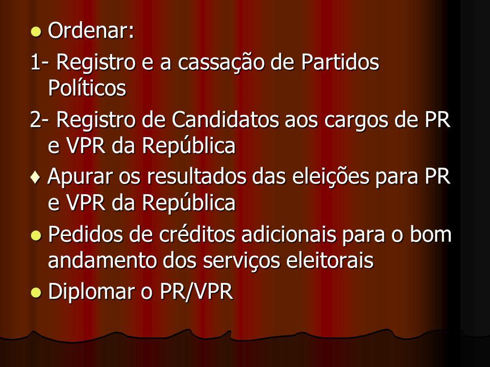 Ordenar: Ordenar: 1- Registro e a cassação de Partidos Políticos 2- Registro de Candidatos aos cargos de PR e VPR da República ♦ Apurar os resultados