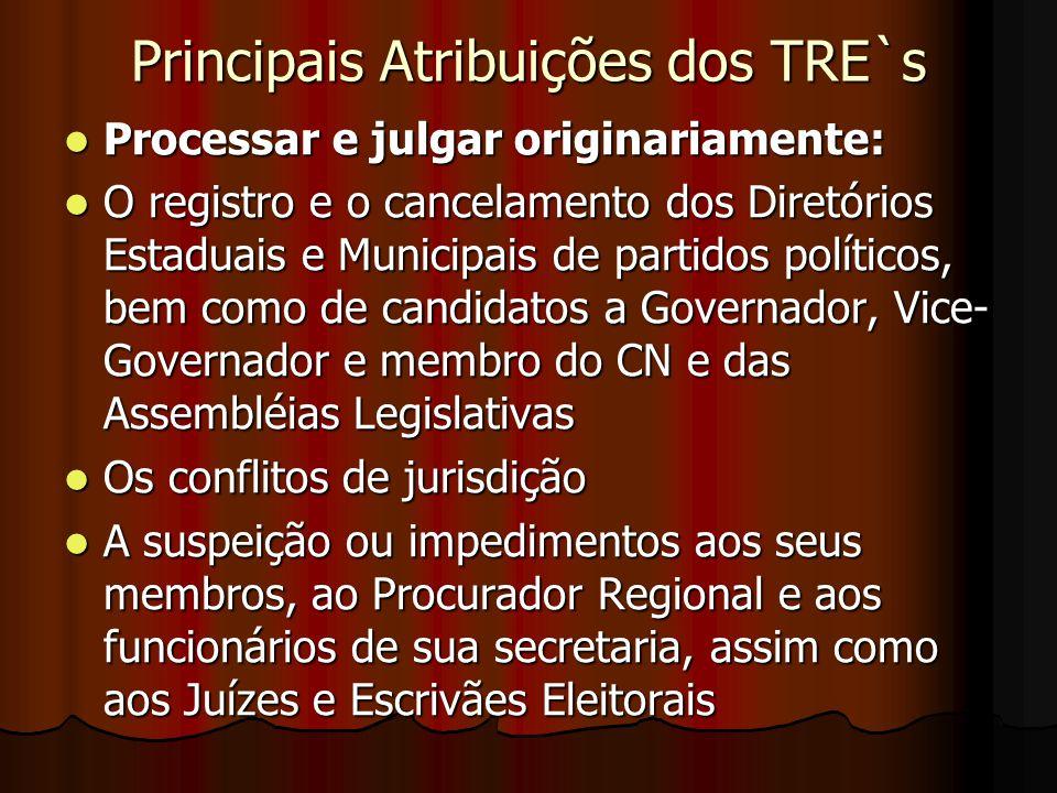 Principais Atribuições dos TRE`s Processar e julgar originariamente: Processar e julgar originariamente: O registro e o cancelamento dos Diretórios Es