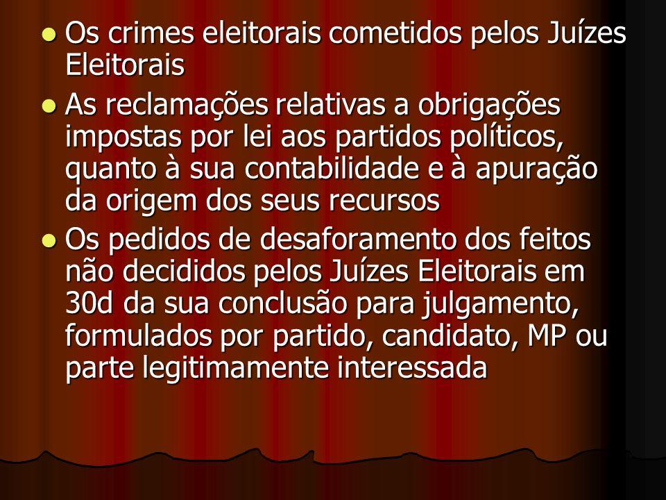 Os crimes eleitorais cometidos pelos Juízes Eleitorais Os crimes eleitorais cometidos pelos Juízes Eleitorais As reclamações relativas a obrigações im