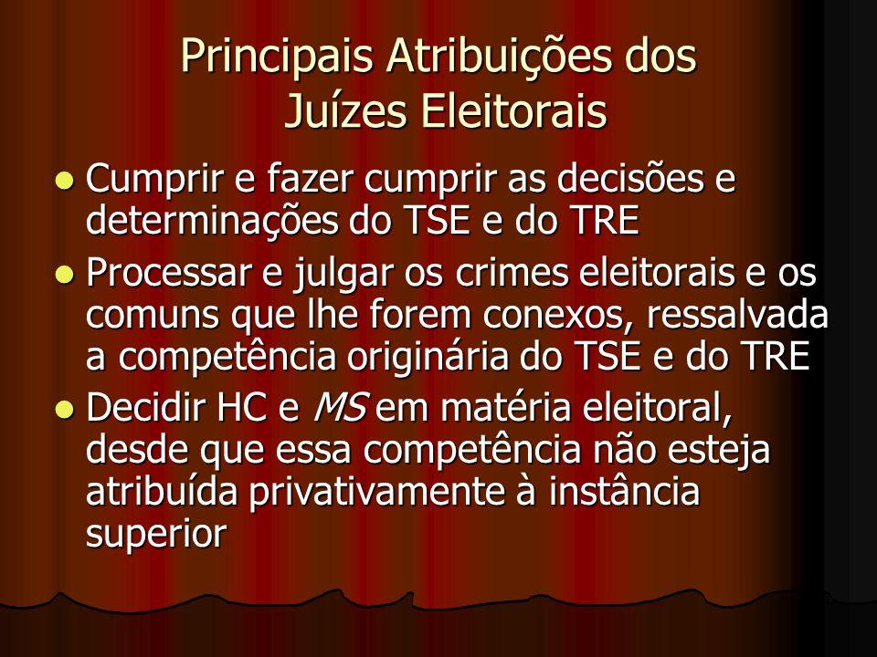 Principais Atribuições dos Juízes Eleitorais Cumprir e fazer cumprir as decisões e determinações do TSE e do TRE Cumprir e fazer cumprir as decisões e