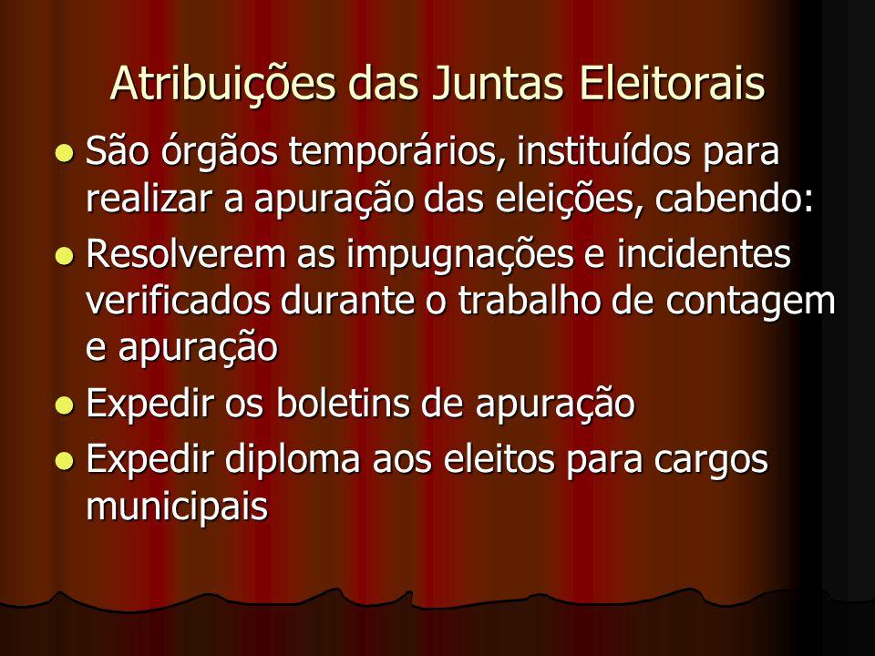 Atribuições das Juntas Eleitorais São órgãos temporários, instituídos para realizar a apuração das eleições, cabendo: São órgãos temporários, instituí