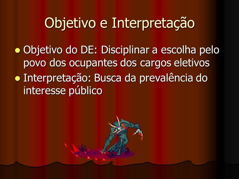 Objetivo e Interpretação Objetivo do DE: Disciplinar a escolha pelo povo dos ocupantes dos cargos eletivos Objetivo do DE: Disciplinar a escolha pelo