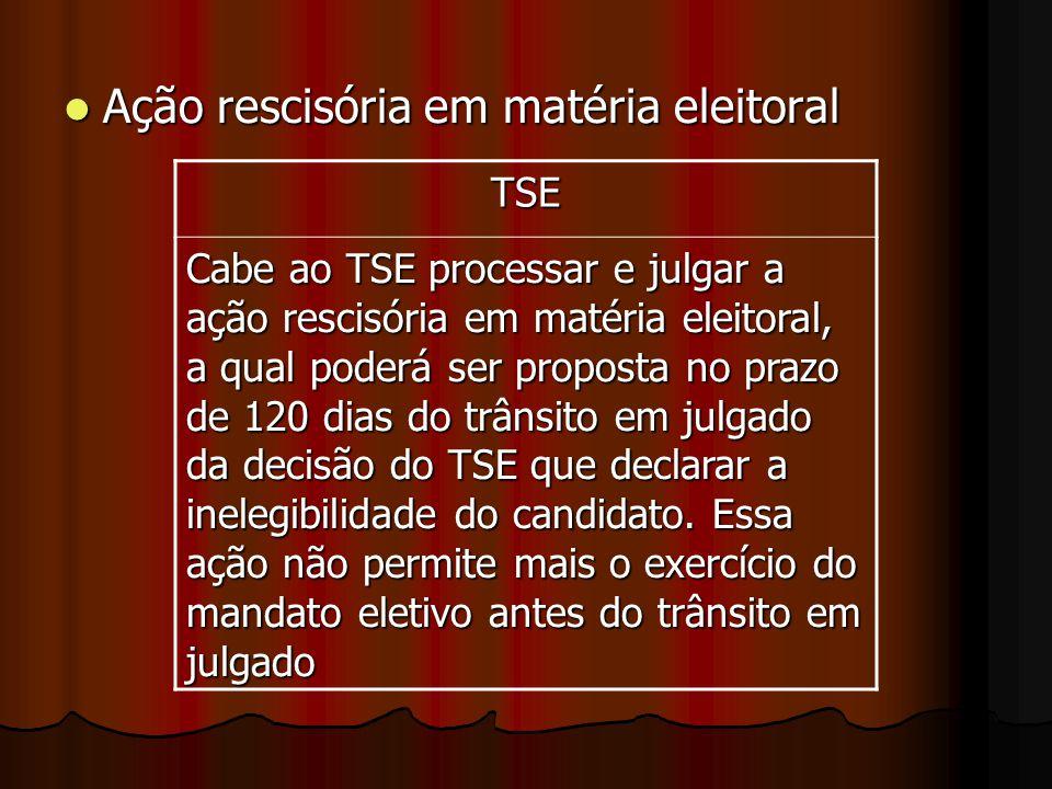Ação rescisória em matéria eleitoral Ação rescisória em matéria eleitoral TSE Cabe ao TSE processar e julgar a ação rescisória em matéria eleitoral, a