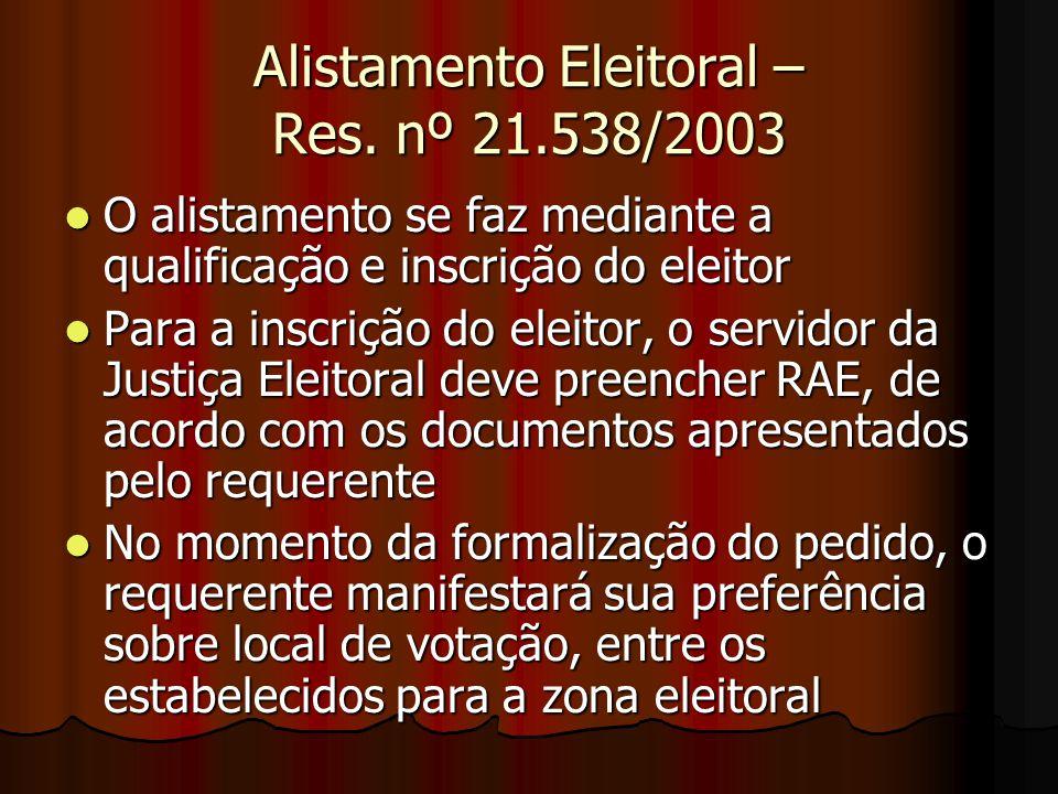 Alistamento Eleitoral – Res. nº 21.538/2003 O alistamento se faz mediante a qualificação e inscrição do eleitor O alistamento se faz mediante a qualif