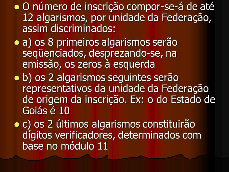 O número de inscrição compor-se-á de até 12 algarismos, por unidade da Federação, assim discriminados: O número de inscrição compor-se-á de até 12 alg