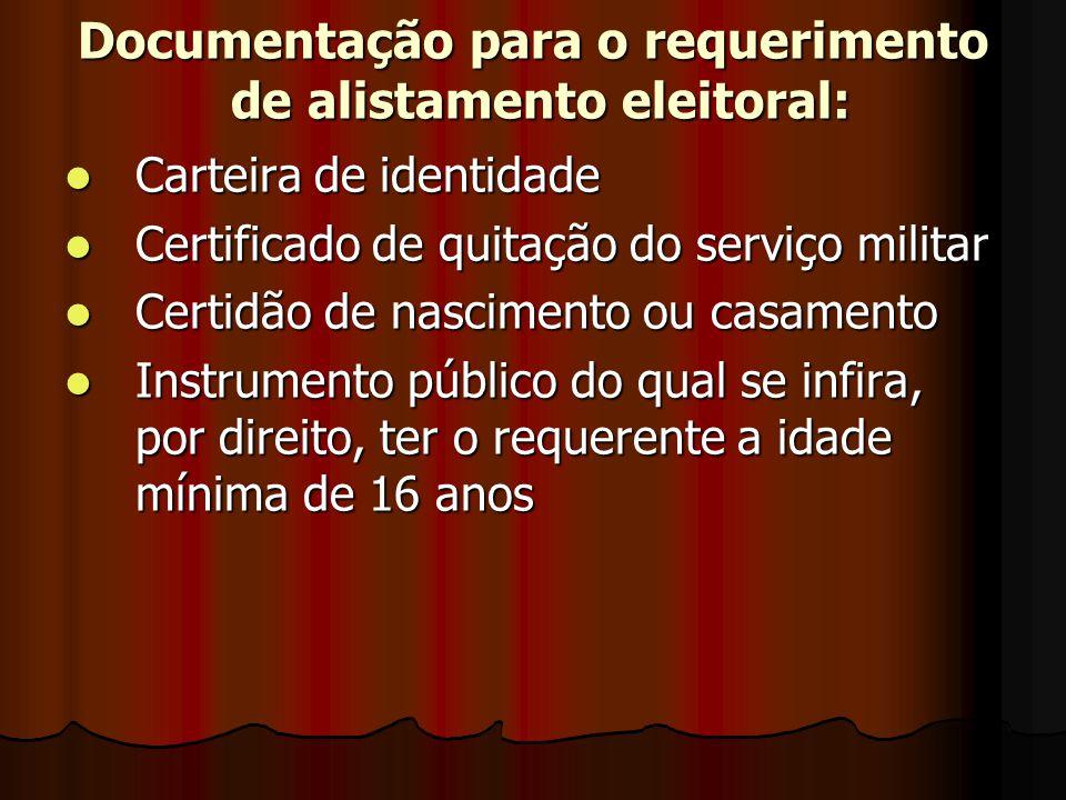Documentação para o requerimento de alistamento eleitoral: Carteira de identidade Carteira de identidade Certificado de quitação do serviço militar Ce