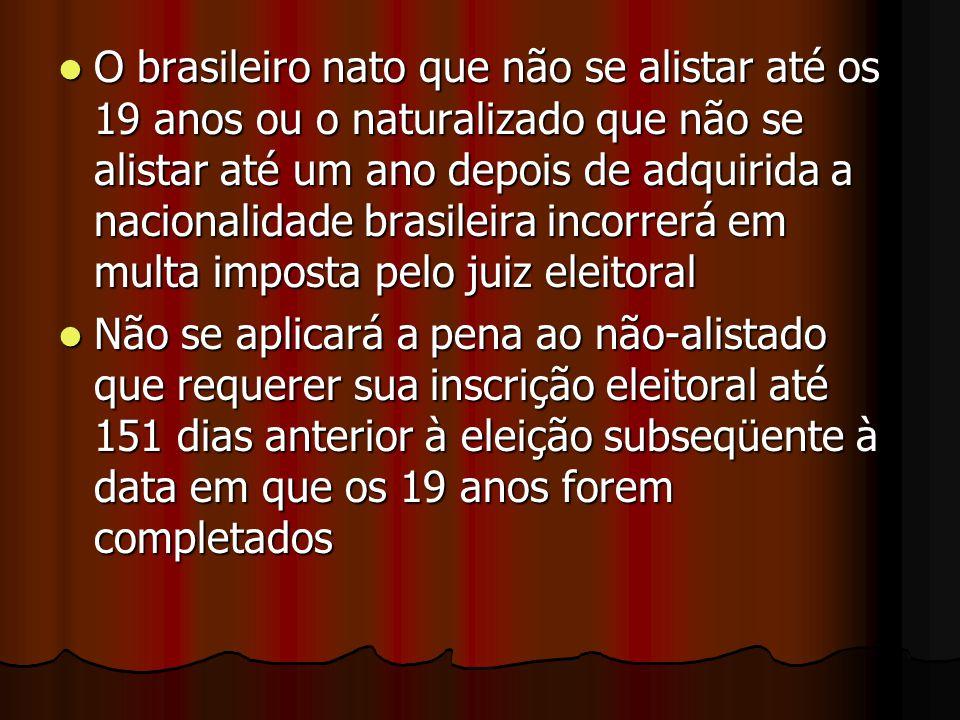 O brasileiro nato que não se alistar até os 19 anos ou o naturalizado que não se alistar até um ano depois de adquirida a nacionalidade brasileira inc