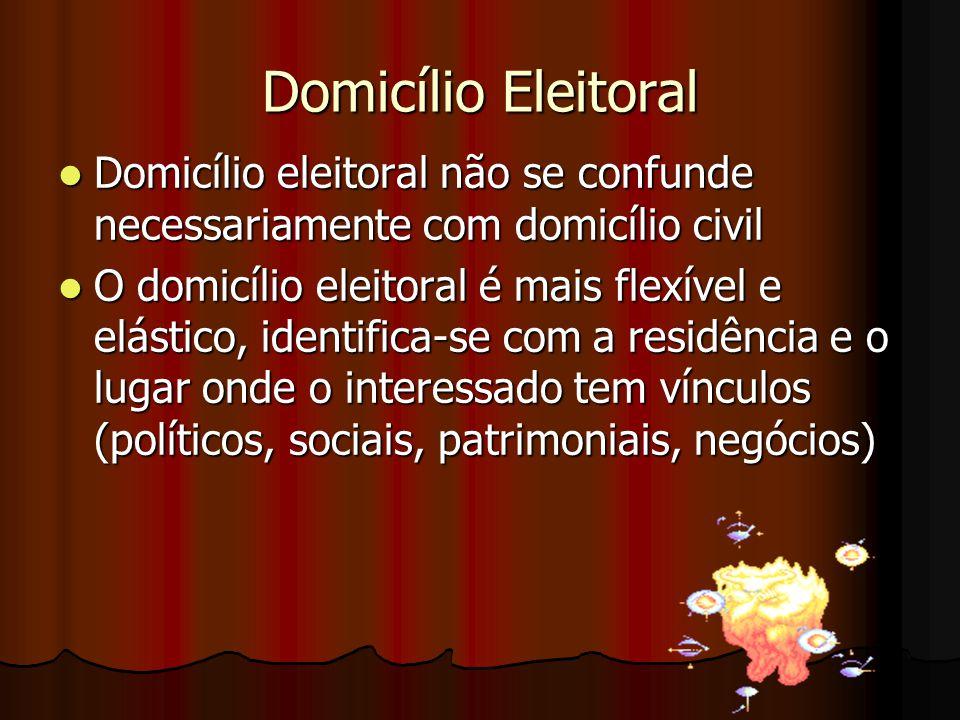 Domicílio Eleitoral Domicílio eleitoral não se confunde necessariamente com domicílio civil Domicílio eleitoral não se confunde necessariamente com do