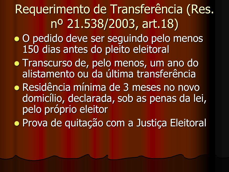 Requerimento de Transferência (Res. nº 21.538/2003, art.18) O pedido deve ser seguindo pelo menos 150 dias antes do pleito eleitoral O pedido deve ser