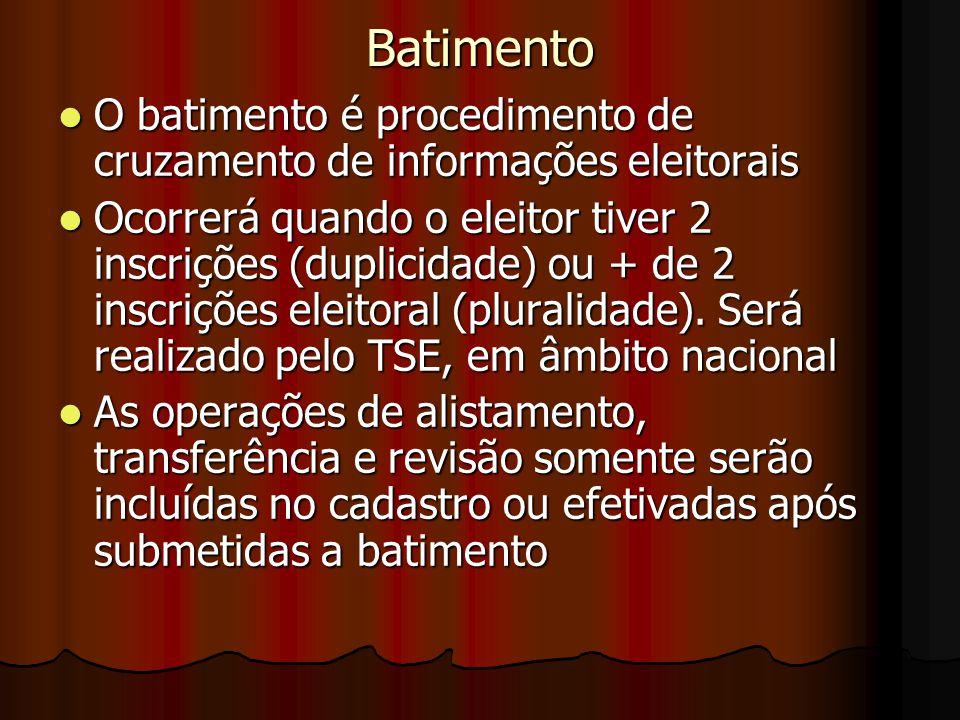 Batimento O batimento é procedimento de cruzamento de informações eleitorais O batimento é procedimento de cruzamento de informações eleitorais Ocorre