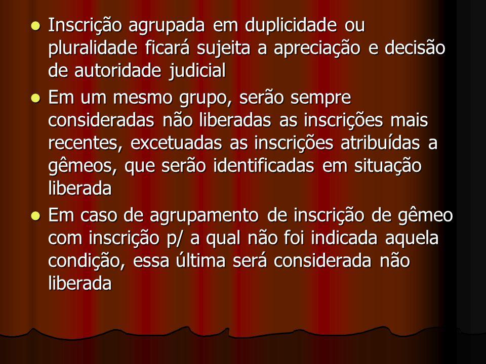 Inscrição agrupada em duplicidade ou pluralidade ficará sujeita a apreciação e decisão de autoridade judicial Inscrição agrupada em duplicidade ou plu