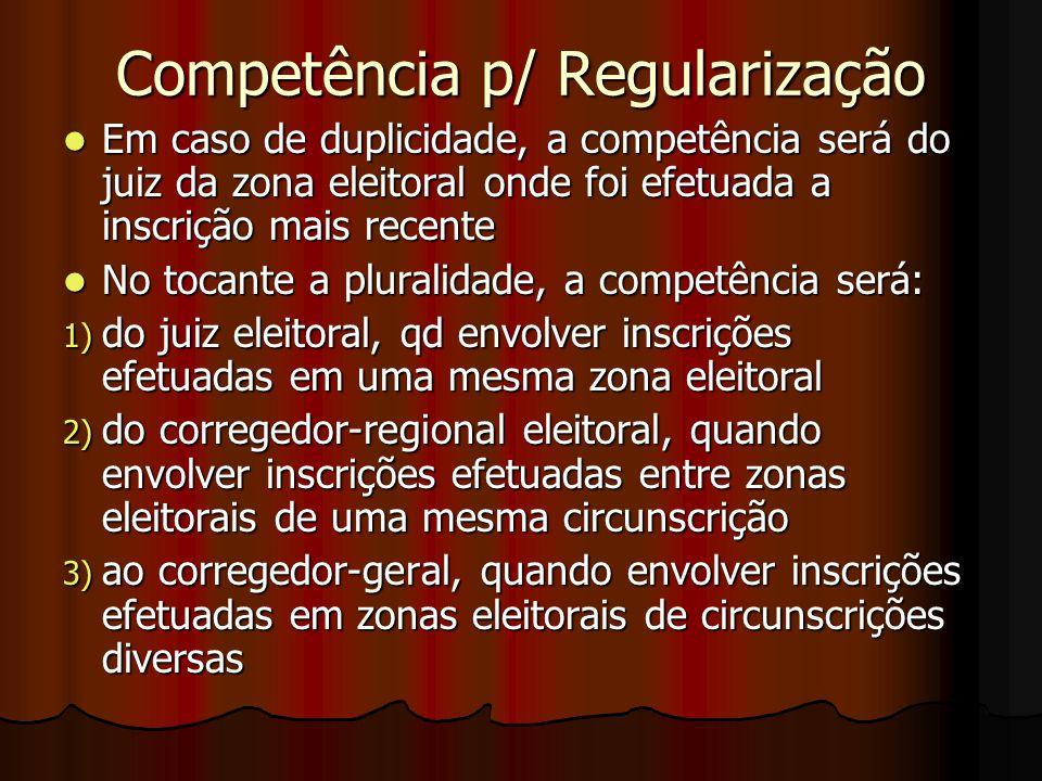 Competência p/ Regularização Em caso de duplicidade, a competência será do juiz da zona eleitoral onde foi efetuada a inscrição mais recente Em caso d