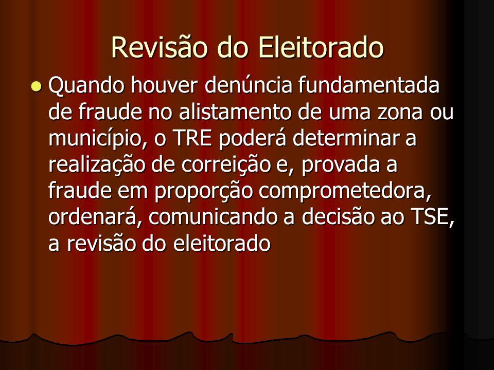 Revisão do Eleitorado Quando houver denúncia fundamentada de fraude no alistamento de uma zona ou município, o TRE poderá determinar a realização de c