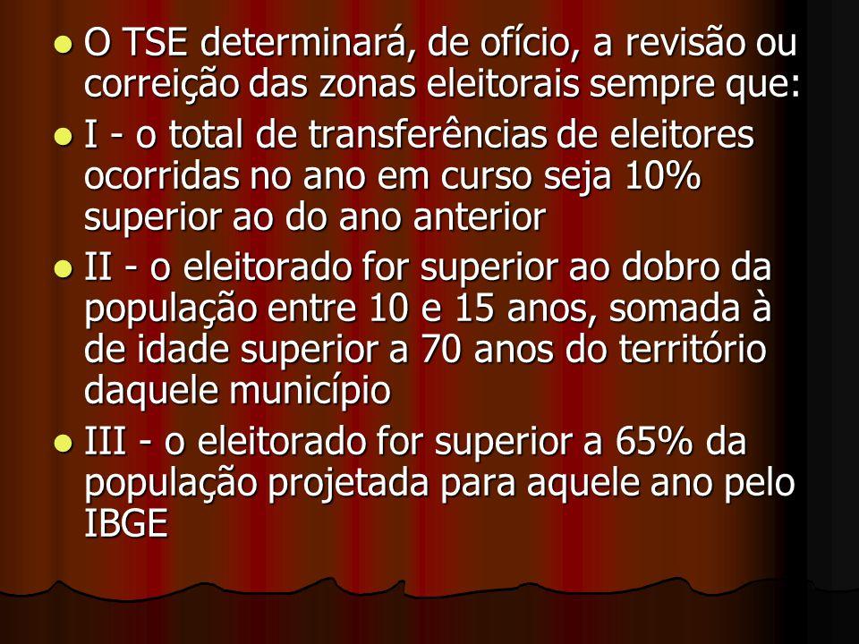 O TSE determinará, de ofício, a revisão ou correição das zonas eleitorais sempre que: O TSE determinará, de ofício, a revisão ou correição das zonas e