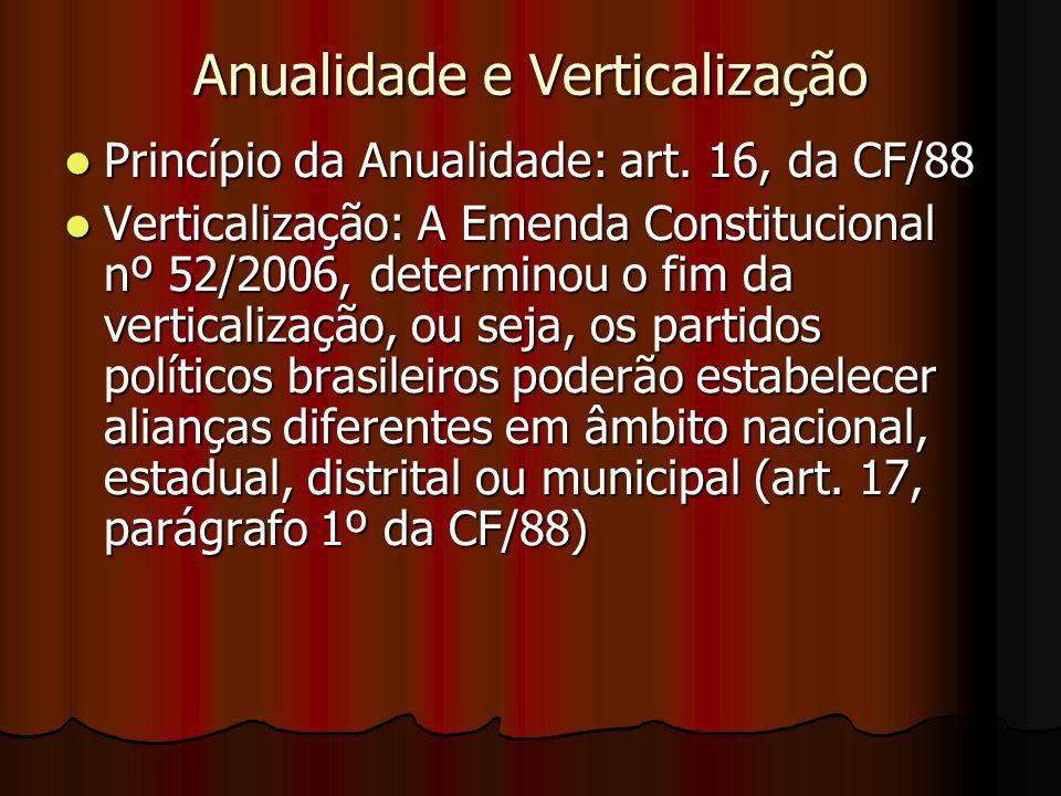 Anualidade e Verticalização Princípio da Anualidade: art. 16, da CF/88 Princípio da Anualidade: art. 16, da CF/88 Verticalização: A Emenda Constitucio