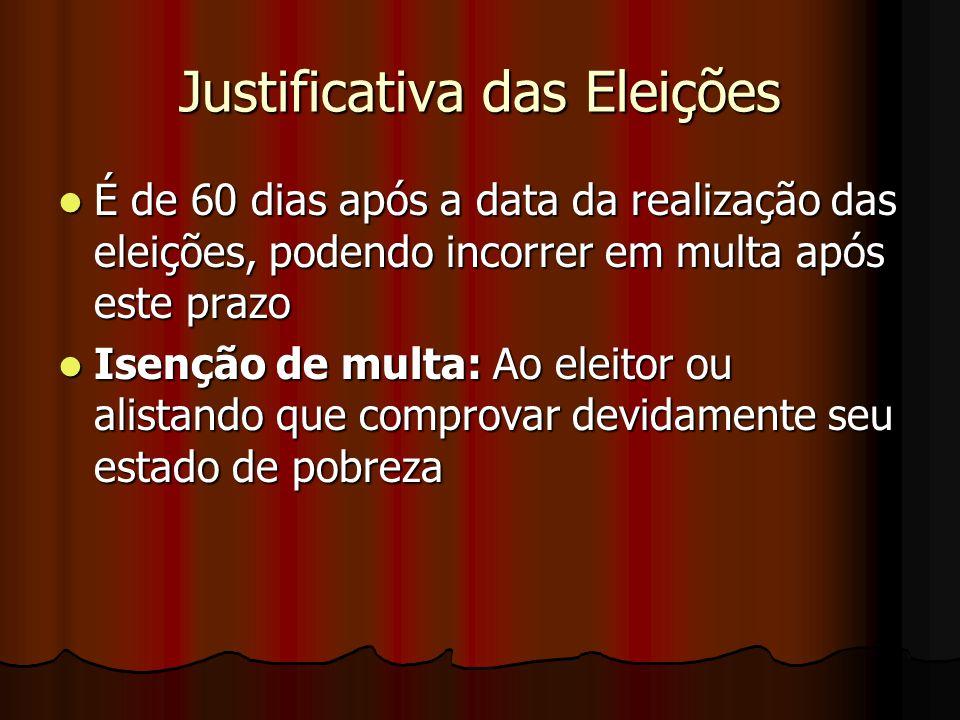 Justificativa das Eleições É de 60 dias após a data da realização das eleições, podendo incorrer em multa após este prazo É de 60 dias após a data da