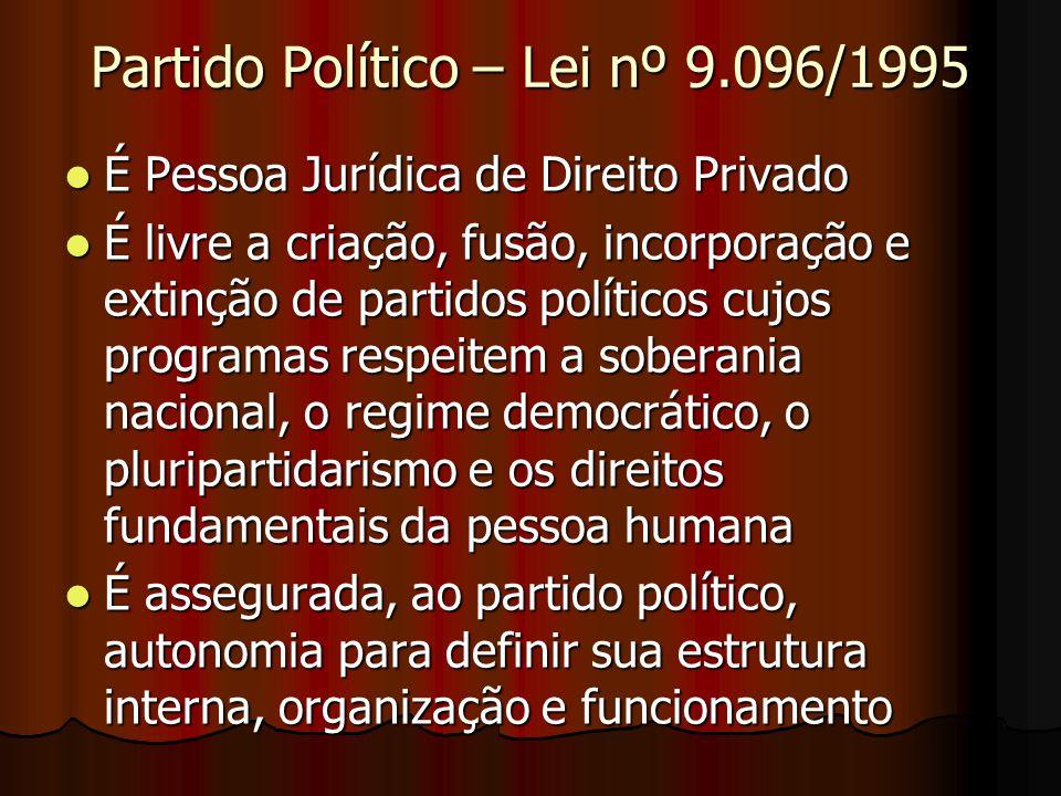 Partido Político – Lei nº 9.096/1995 É Pessoa Jurídica de Direito Privado É Pessoa Jurídica de Direito Privado É livre a criação, fusão, incorporação