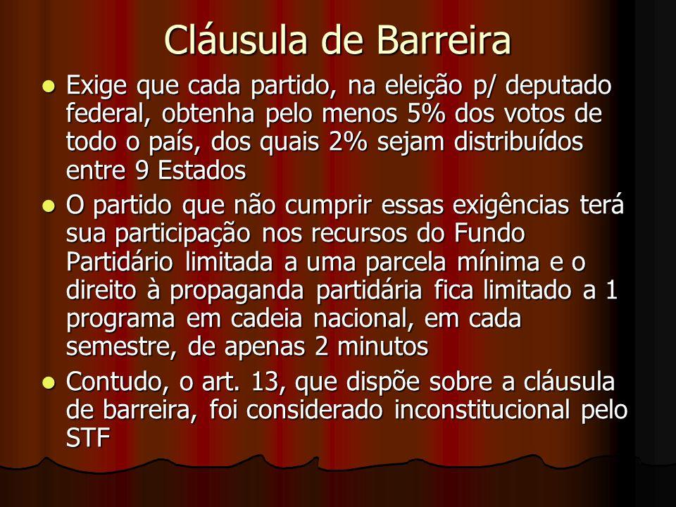 Cláusula de Barreira Exige que cada partido, na eleição p/ deputado federal, obtenha pelo menos 5% dos votos de todo o país, dos quais 2% sejam distri