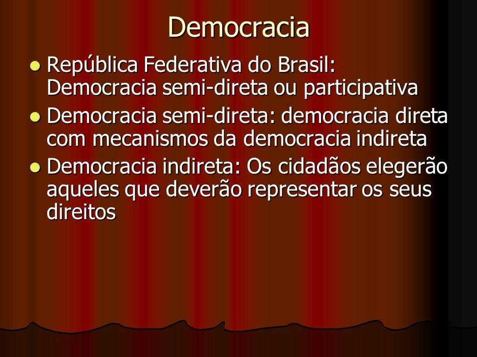 Democracia República Federativa do Brasil: Democracia semi-direta ou participativa República Federativa do Brasil: Democracia semi-direta ou participa