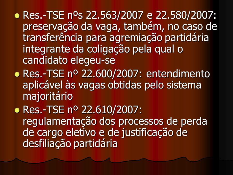 Res.-TSE nºs 22.563/2007 e 22.580/2007: preservação da vaga, também, no caso de transferência para agremiação partidária integrante da coligação pela