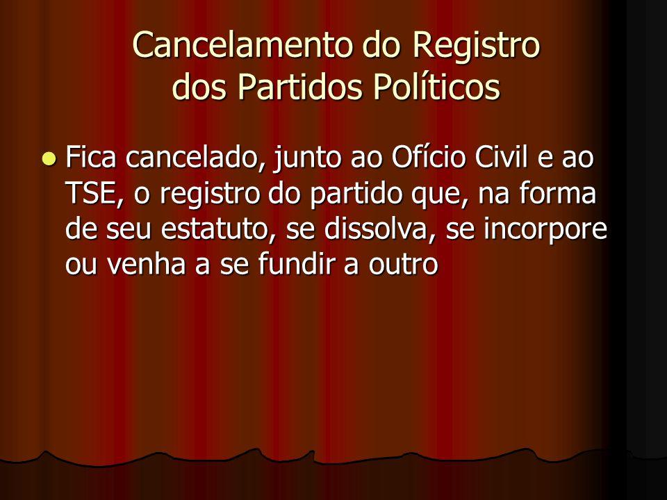 Cancelamento do Registro dos Partidos Políticos Fica cancelado, junto ao Ofício Civil e ao TSE, o registro do partido que, na forma de seu estatuto, s