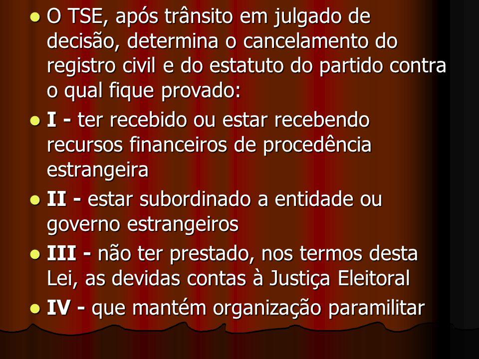 O TSE, após trânsito em julgado de decisão, determina o cancelamento do registro civil e do estatuto do partido contra o qual fique provado: O TSE, ap