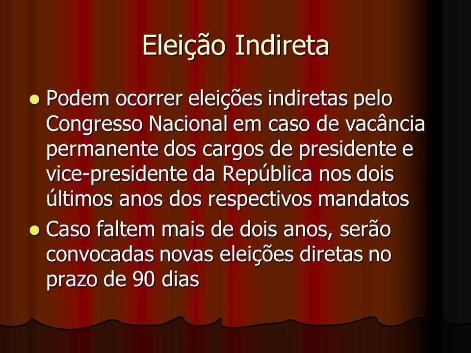 Eleição Indireta Podem ocorrer eleições indiretas pelo Congresso Nacional em caso de vacância permanente dos cargos de presidente e vice-presidente da