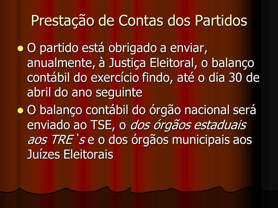 Prestação de Contas dos Partidos O partido está obrigado a enviar, anualmente, à Justiça Eleitoral, o balanço contábil do exercício findo, até o dia 3