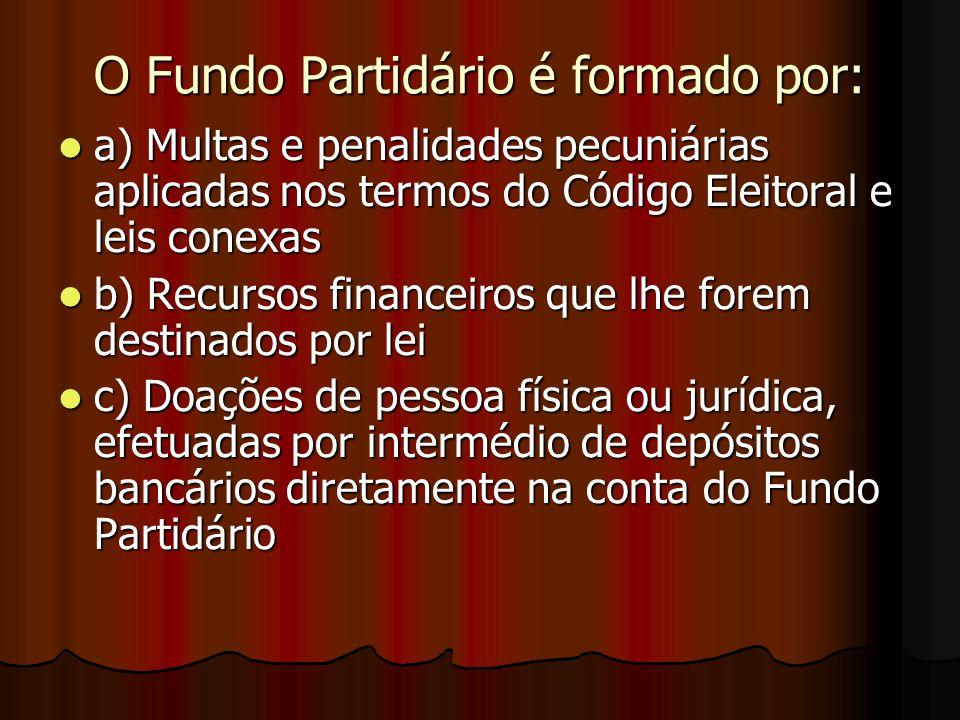 O Fundo Partidário é formado por: a) Multas e penalidades pecuniárias aplicadas nos termos do Código Eleitoral e leis conexas a) Multas e penalidades