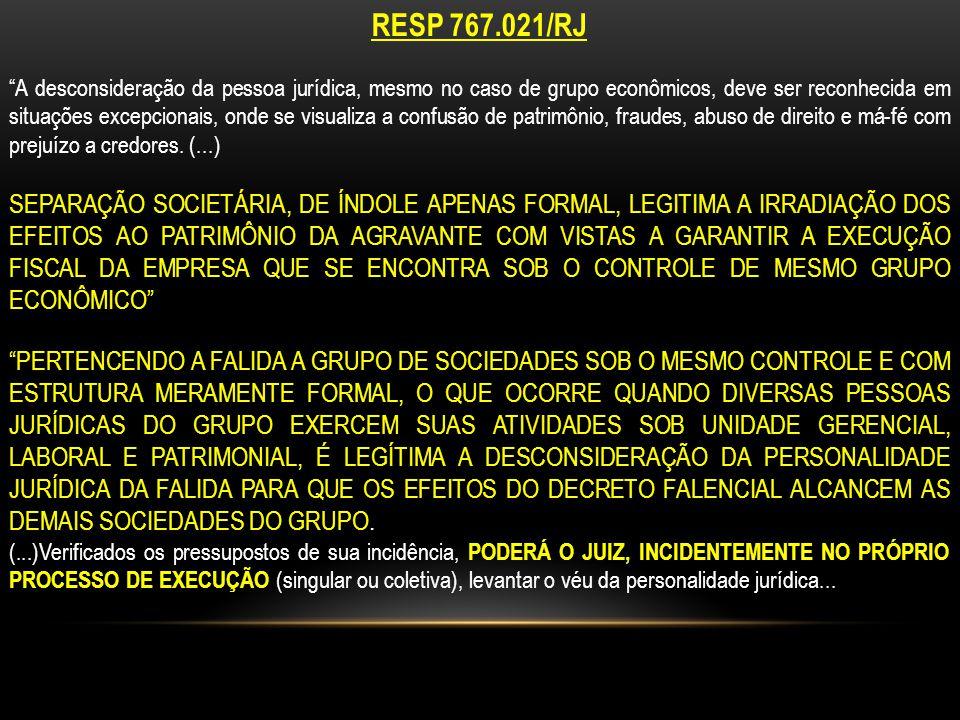 RESP 767.021/RJ A desconsideração da pessoa jurídica, mesmo no caso de grupo econômicos, deve ser reconhecida em situações excepcionais, onde se visualiza a confusão de patrimônio, fraudes, abuso de direito e má-fé com prejuízo a credores.