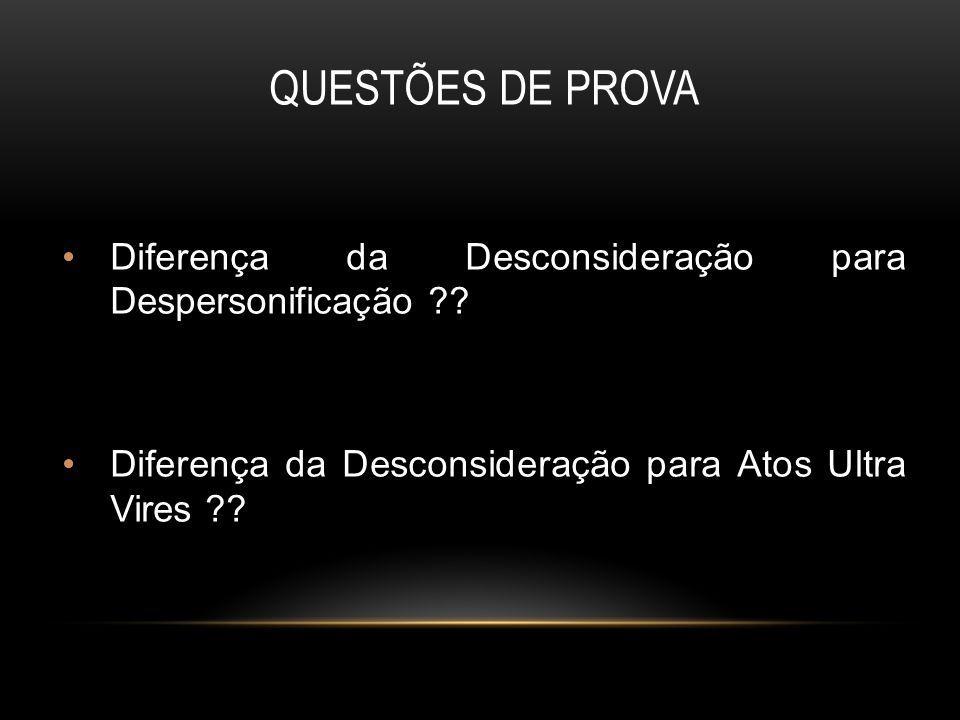 QUESTÕES DE PROVA Diferença da Desconsideração para Despersonificação ?.