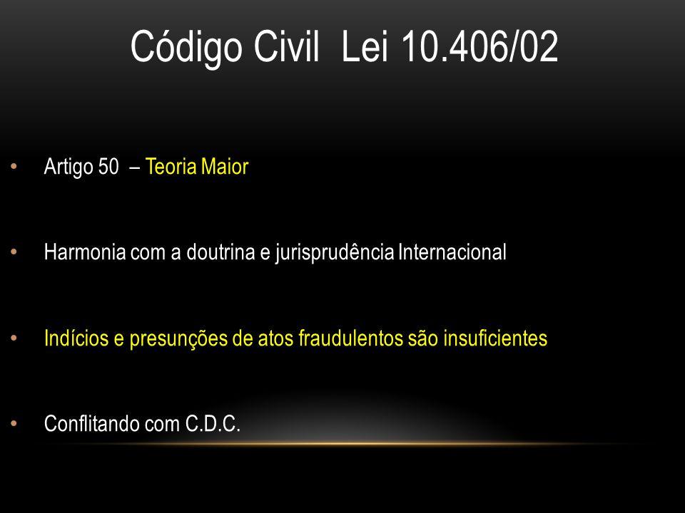 Código Civil Lei 10.406/02 Artigo 50 – Teoria Maior Harmonia com a doutrina e jurisprudência Internacional Indícios e presunções de atos fraudulentos são insuficientes Conflitando com C.D.C.