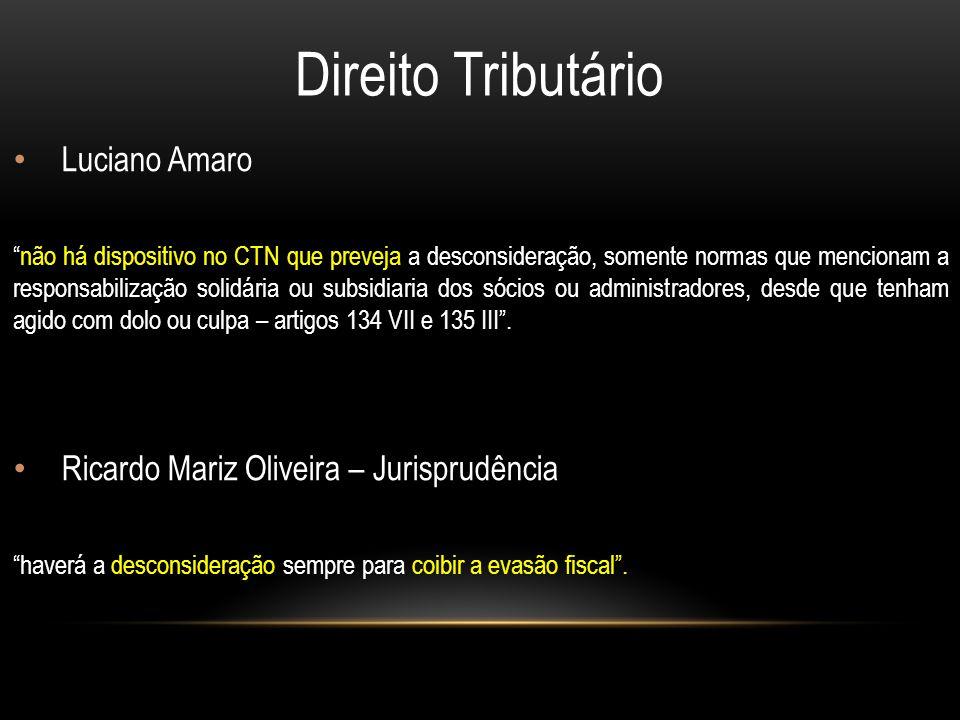 Direito Tributário Luciano Amaro não há dispositivo no CTN que preveja a desconsideração, somente normas que mencionam a responsabilização solidária ou subsidiaria dos sócios ou administradores, desde que tenham agido com dolo ou culpa – artigos 134 VII e 135 III .
