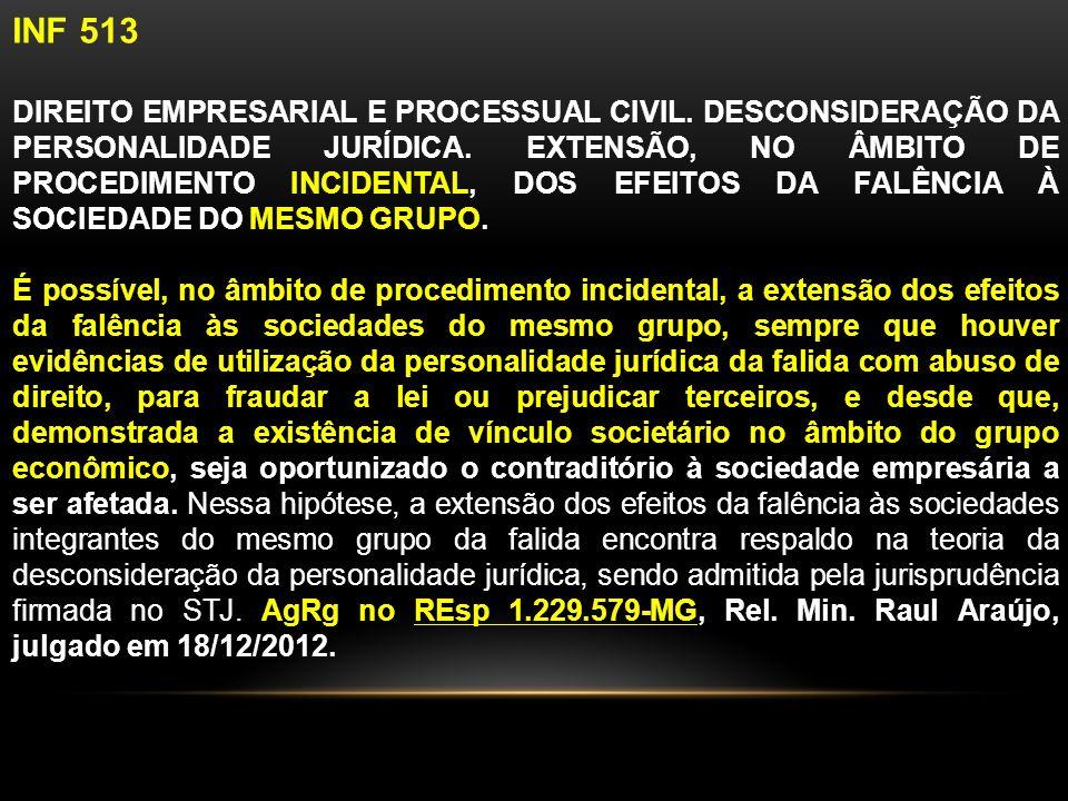 INF 513 DIREITO EMPRESARIAL E PROCESSUAL CIVIL.DESCONSIDERAÇÃO DA PERSONALIDADE JURÍDICA.