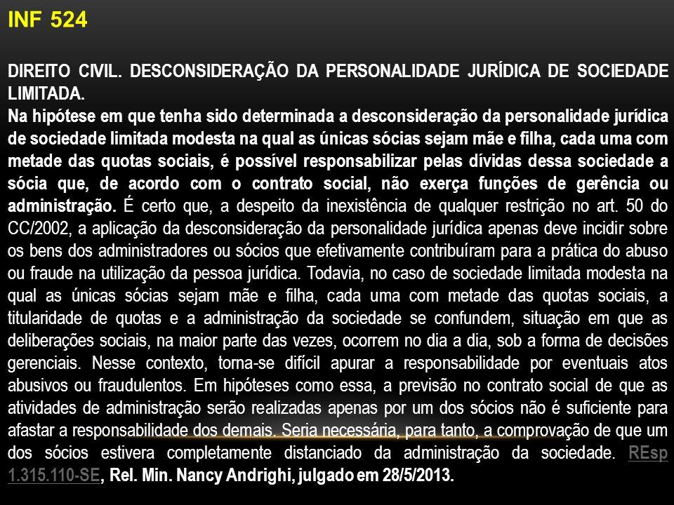 INF 524 DIREITO CIVIL.DESCONSIDERAÇÃO DA PERSONALIDADE JURÍDICA DE SOCIEDADE LIMITADA.