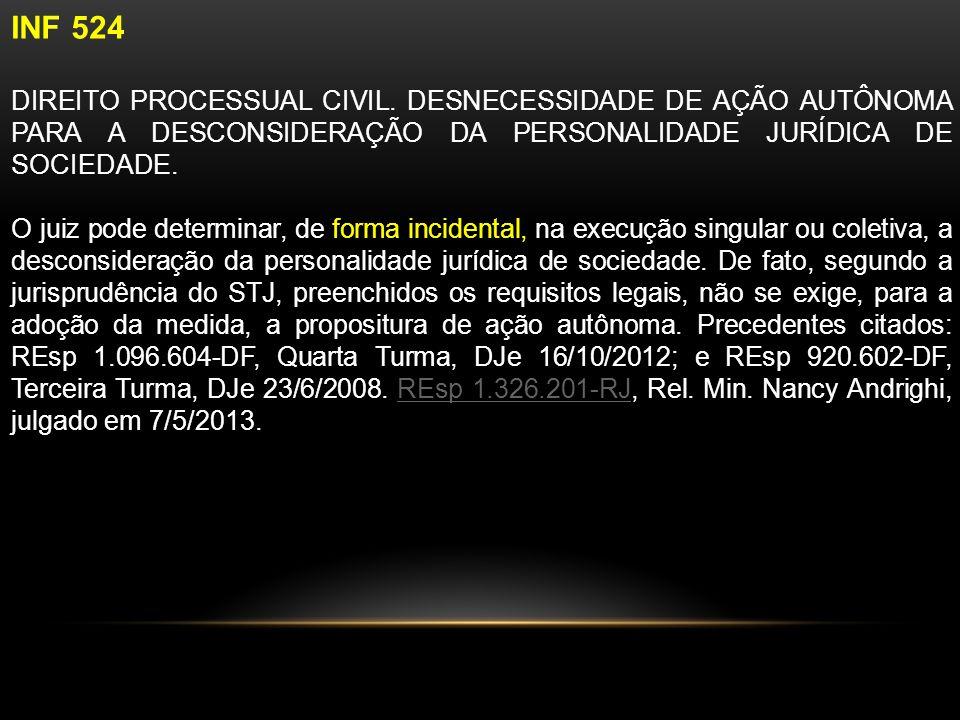 INF 524 DIREITO PROCESSUAL CIVIL.