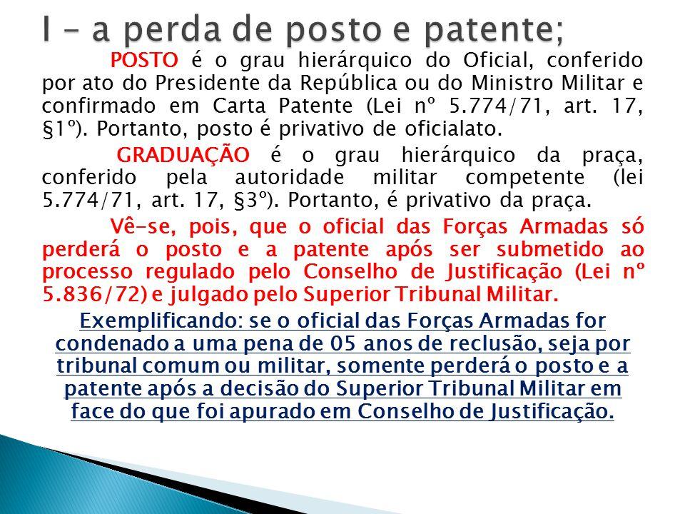 POSTO é o grau hierárquico do Oficial, conferido por ato do Presidente da República ou do Ministro Militar e confirmado em Carta Patente (Lei nº 5.774
