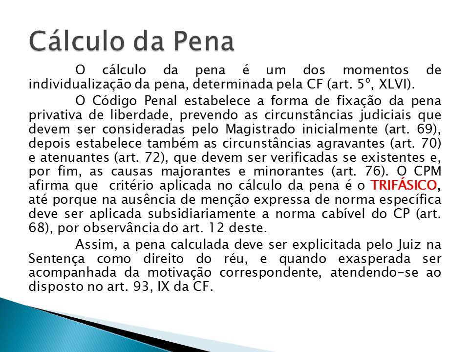 O cálculo da pena é um dos momentos de individualização da pena, determinada pela CF (art. 5º, XLVI). O Código Penal estabelece a forma de fixação da