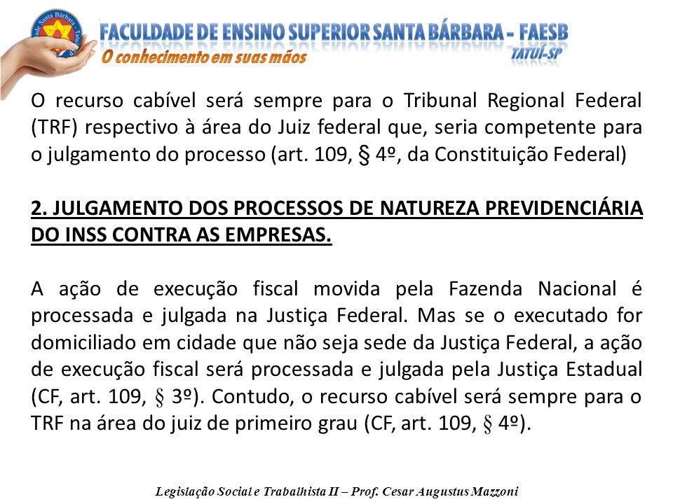 Legislação Social e Trabalhista II – Prof. Cesar Augustus Mazzoni O recurso cabível será sempre para o Tribunal Regional Federal (TRF) respectivo à ár