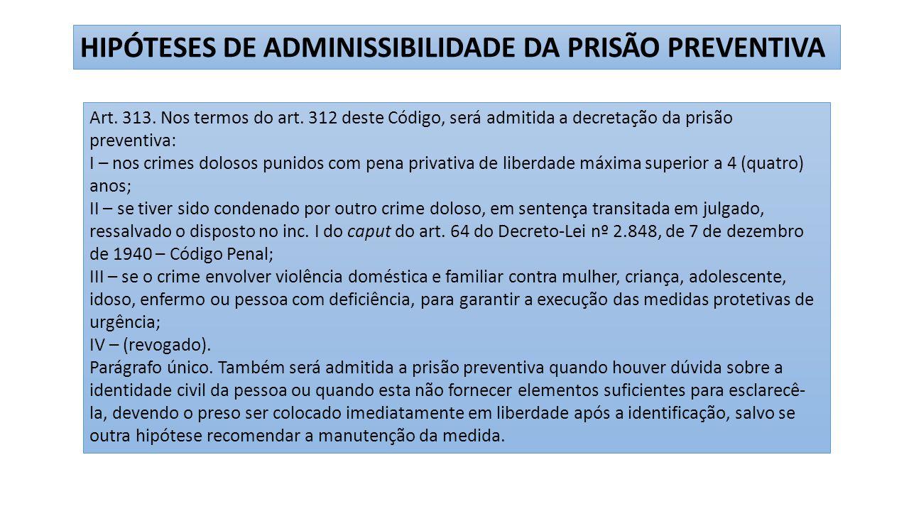 HIPÓTESES DE ADMINISSIBILIDADE DA PRISÃO PREVENTIVA Art.