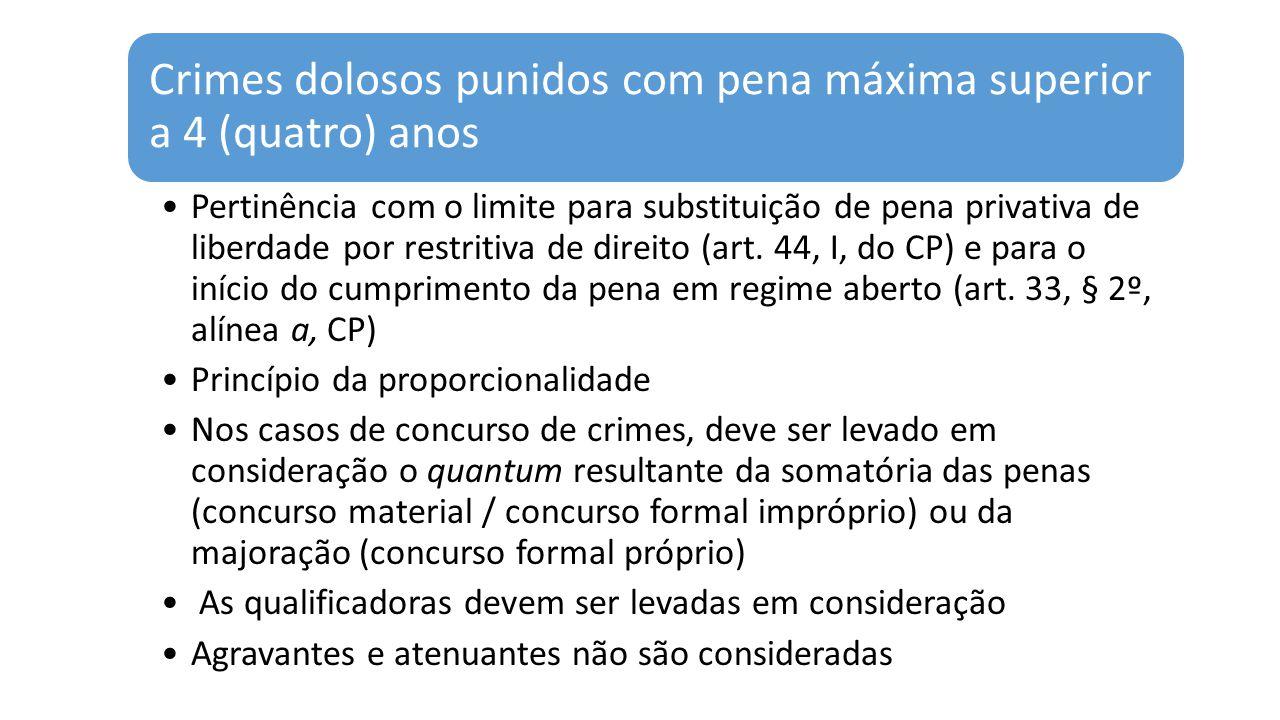 Crimes dolosos punidos com pena máxima superior a 4 (quatro) anos Pertinência com o limite para substituição de pena privativa de liberdade por restritiva de direito (art.