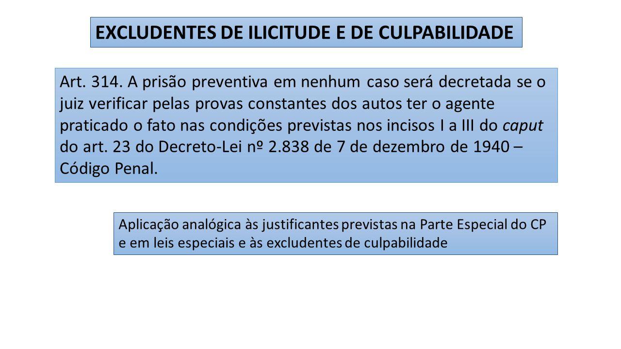 EXCLUDENTES DE ILICITUDE E DE CULPABILIDADE Art.314.