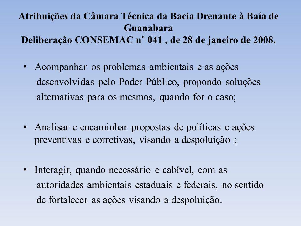 Contextualização da Baía de Guanabara PRINCIPAIS IMPACTOS 1)Esgotamento Sanitário Lançamento diário de aproximadamente 60% do esgoto doméstico in natura gerado pelos15 municípios do seu entorno (~ 18 mil litros por segundo ); 2) Resíduos domésticos e industriais Recebe cerca de 1000 toneladas de resíduos sólidos por dia; 3) Assoreamentos