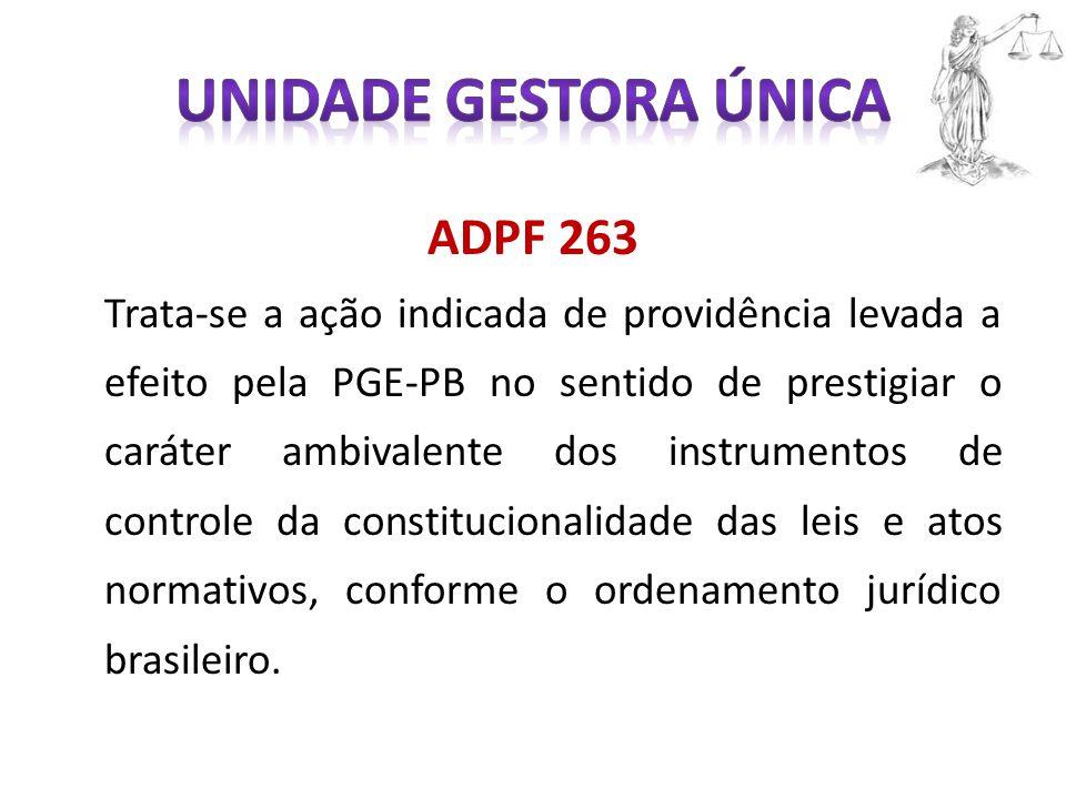 ADPF 263 Trata-se a ação indicada de providência levada a efeito pela PGE-PB no sentido de prestigiar o caráter ambivalente dos instrumentos de controle da constitucionalidade das leis e atos normativos, conforme o ordenamento jurídico brasileiro.