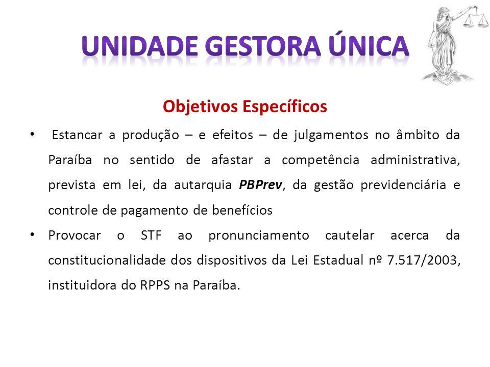 Objetivos Específicos Estancar a produção – e efeitos – de julgamentos no âmbito da Paraíba no sentido de afastar a competência administrativa, previs